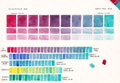 Watercolour Mixing Charts - Jane Blundell - Artist // She has the BEST color mixing resources online.