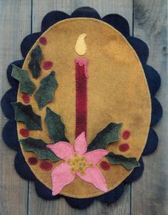 Primitive Wool Penny Rug e-Pattern Candle Burning with
