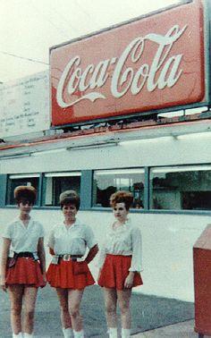 Vintage snapshot - car hops -  Boy!  Those were the days . . .