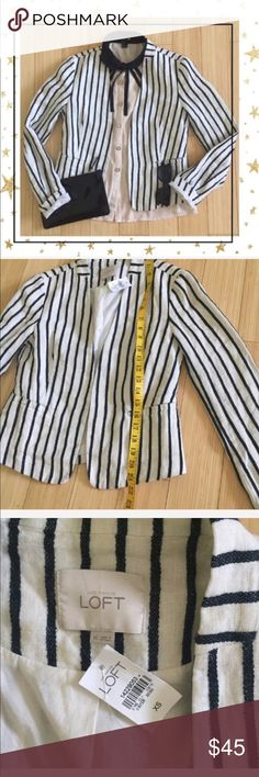 LOFT Cotton Cropped Striped Jacket (GU23B8N) Striped linen  jacket. 100% cotton. New with tag. Offers welcome . No trade .this blouse is also available in my closet LOFT Jackets & Coats Blazers