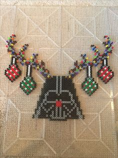 Darth Vader Christmas reindeer antler Rudolph ornaments perler Perler Bead Designs, Hama Beads Design, Hama Beads Patterns, Perler Bead Art, Beading Patterns, Christmas Perler Beads, Beaded Christmas Ornaments, 8bit Art, Beading For Kids
