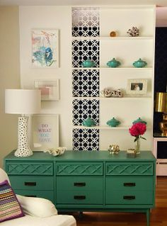 love how they painted the dresser and the wallpaper in just of 1/3 of the bookcase