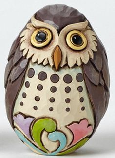 Owl Easter Egg paperweight by Jim Shore Pebble Painting, Pebble Art, Stone Painting, Stone Crafts, Rock Crafts, Painted River Rocks, Painted Rock Animals, Owl Quilts, Felt Owls