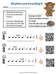 15 pages of practice rhythms for young musicians. Each page contains three practice rhythms, each two bars long and has four beats to a bar,... $