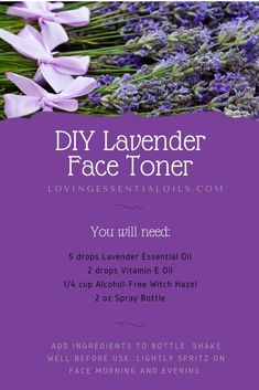 DIY Lavender Face Toner - Essential Oil Spray Recipe - Care - Skin care , beauty ideas and skin care tips Toner For Face, Facial Toner, Piel Natural, Natural Skin, Natural Beauty, Natural Oils, Essential Oil Spray, Essential Oils, Lemy Beauty