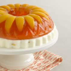 As seen on CBS SundayMorning (air date 9-9-12), this retro treat is made with a layer of sweetenedcondensedmilk topped with peach gelatin and sliced peaches arranged like a bright sunflower. Thi…