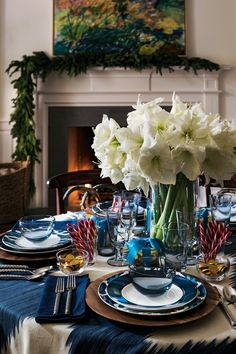 Blue and white table for fall/winter
