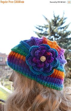 SALE 5% OFF Knitted flower cap hat lovely warm by DosiakStyle
