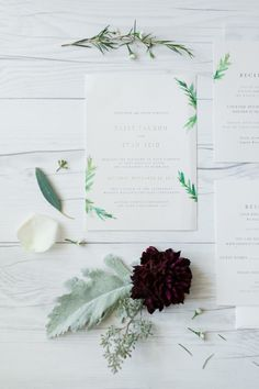 stationery accented with simple greenery | Photography: Love Janet Photography