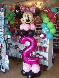 Mickey Mouse Balloons, Mickey Y Minnie, Mickey Party, Minnie Mouse Party, Minnie Mouse First Birthday, 1st Birthday Princess, Birthday Fun, 1st Birthday Parties, Ballon Decorations