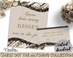 Seashells And Pearls Bridal Shower Guess How Many Kisses Game in Brown And Beige, guessing games, traditional bridal, party decor - 65924 - Digital Product bridal shower wedding bride to be bridesmaids