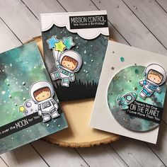 ***Scroll for close ups!***. I hope you are not sick of seeing my space cards! I absolutely adore these space theme sets. Backgrounds were done with Distress inks and oxides! #mftstamps #handmadecards #cardmaking #cardsbysharna #handmadewithlove #celestial #galaxy #rangerink #space #spaceman #littlethingsfromlucyscards #nuvocrystaldrops #timholtz #distressink #distressinkoxide
