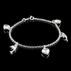 Pulseira Feminina c/ Coração e Golfinho