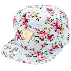 Fashion Floral Flower Snapback Hip-Hop Hat Flat Peaked Adjustable Baseball Cap