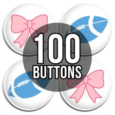 Pink Bow & Blue Football Gender Reveal Baby Shower Button Badges - 100 Pack