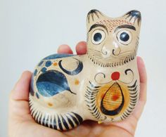 Vintage Mexican Tonala Pottery Cat Figurine by FreewheelFinds, $30.00
