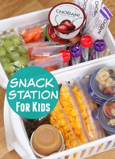 #6. Create an easy to access snack station for the kids using pull-out plastic…