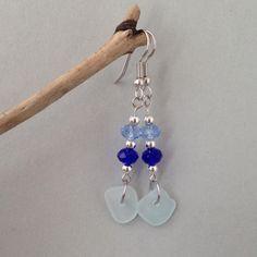 Seeglas Ohrhänger - Navy Blue von MeerSchmuck auf DaWanda.com