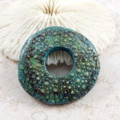 Handmade Polymer Clay Donut Bead Focal Large Blue by TactileArts