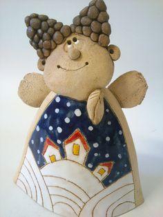 Andělík+zimní+Andělík+ laděný+do+zimy+18.5+cm Christmas Clay, Christmas Angels, Ceramic Clay, Ceramic Pottery, Paper Dolls, Art Dolls, Clay Angel, Pottery Angels, African Crafts