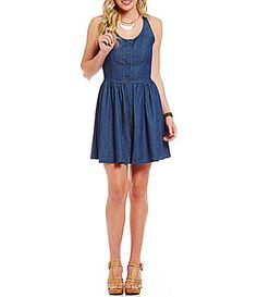 Copper Key Chambray ButtonFront Skater Dress #Dillards