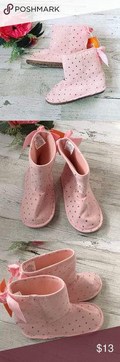 Pink Sequin Slipper Boots Adorable light pink Sequin booties/ boot style slippers. Have non slip sole. Cute ribbon bow on the back. Slip on style. Brand new, never worn!   This is pet friendly, smoke free home 😊  Please ask all questions prior to purchase, happy to help 😊 All sales are final. Gymboree Shoes Boots