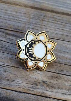 Gold Moon Mandala Enamel Pin