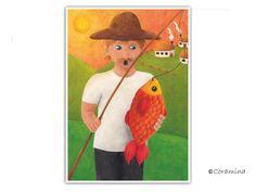 """Postkarte """"Fischer"""" limitierte Edition von Coramina - Illustration und Design auf DaWanda.com"""