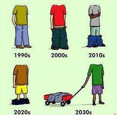 You don't always have to follow a trend.  Use common sense.   We would rather not see what kind of underwear you are wearing. Somethings are better when kept to yourself.  Thank you for your cooperation.  You may even find that it will be easier to walk without having to balance your pants on your knees.