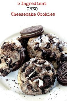 5-Ingredient Oreo Cheesecake Cookies - these are THE BEST! Soft, chewy, and loaded with oreos!!!