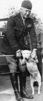 "US 3rd Army Commander Lt. Gen. George S. Patton, Jr. and his English Bull Terrier Willie (""William the Conqueror"" )"