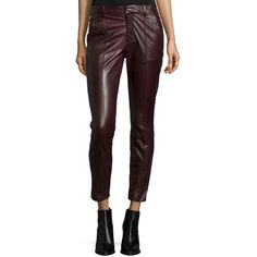 Vince Mid-Rise Leather Pintuck Trousers ($995) ❤ liked on Polyvore featuring pants, capris, shiraz, skinny pants, leather trousers, straight pants, skinny leg pants and fitted pants