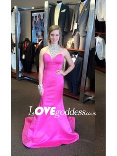 Fuchsia Satin Mermaid Evening Gown With Beaded Sheer Back