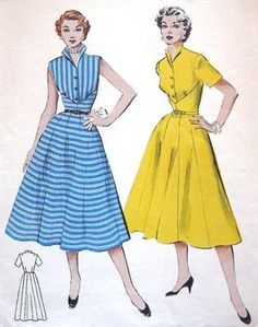 Items similar to Vintage Summer Dress Sewing Pattern Rockabilly Waist Cinching Sleeveless Flared Skirt Perfect for Stripes Butterick 6501 Bust 30 on Etsy Vintage Outfits, Vintage 1950s Dresses, Vintage Skirt, Vintage Clothing, Fashion Illustration Vintage, Illustration Mode, 1950s Style, Moda Vintage, Vintage Mode