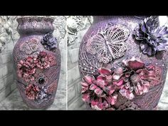 altered mixed media vase painted with Art Alchemy Finnabair acrylic paint - start to finish video tutorial. Craft Tutorials, Craft Projects, Fun Crafts, Diy And Crafts, Diy Glasses, Cuir Rose, Wine Bottle Art, Altered Bottles, Bottles And Jars