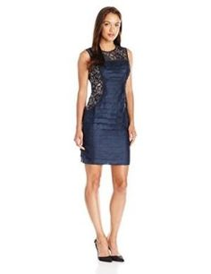 Better London Times Women's Petite Shimmer Shutter and Lace Sleeveless Sheath Dress Reviews & Compare by johnastone