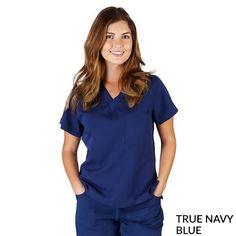 Ultra Soft 1-pocket scrub top Navy Blue Scrubs, Scrub Tops, V Neck Tops, Pocket, Fabric, Collection, Women, Ideas, Fashion