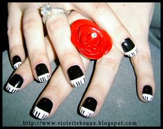 Piano Key Nail Art by Violet LeBeaux, via Flickr