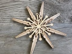 Simple Rustic Christmas Ornaments- DIY · Just That Perfect Piece Easy Ornaments, Rustic Christmas Ornaments, Wood Ornaments, Christmas Deco, Christmas Projects, Dollar Tree Crafts, Holiday Crafts, Wooden Clothespin Crafts, Cross Crafts