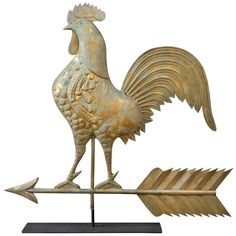 Rooster Weathervane | From a unique collection of antique and modern weathervanes at http://www.1stdibs.com/furniture/folk-art/weathervanes/