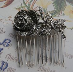 Vintage Marcasite Hair Comb, Silver Tone Rose Floral Spray- Wedding, Bridal, Prom Hair Accessories by UniqueHairCombs on Etsy