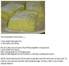Two ingredient lemon bars Angel Food Cake, Lemon Bars, Large Bowl, Desert Recipes, Dessert Ideas, Just Desserts, Squares, Cake Recipes, Deserts