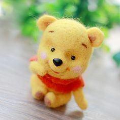 Handmade Needle felted felting project animal cute bear Pooh Winnie felted wool doll