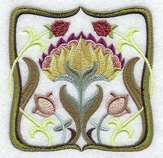 Art Nouveau Floral Square 2 design (D3917) from www.Emblibrary.com