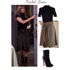 Rachel Green Fall Outfit Season 10 by caresse-vera on Polyvore featuring Courrèges and Malone Souliers