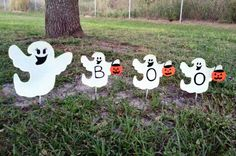 Halloween Decoration, Ghost Decoration, Outdoor Halloween Glow in the Dark yard decoration.  Boo.  Trick or treat.   Fun.