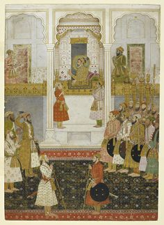 Prince Aurangzeb reports to Emperor Shah Jahan in durbar artwork from Mughal India: Art Culture and Empire (c) British Library Board Mughal Miniature Paintings, Mughal Paintings, Indian Paintings, Oil Paintings, Landscape Paintings, Indiana, Framed Art Prints, Painting Prints, Painting Art