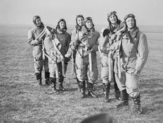 """""""The Spitfire Sisters"""" - Female pilots from the ATA, Britain 1940 [[MORE]] """" The Air Transport Auxiliary (ATA) was a civilian organization founded in England at the beginning of WWII. During the war,. 1940s Woman, The Spitfires, Focke Wulf, Female Pilot, Military Women, Ww2 Women, Battle Of Britain, Glamour Shots, Women In History"""