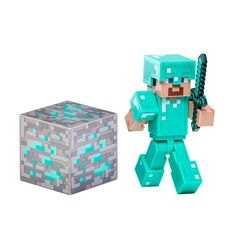 Minecraft Diamond Steve Action Figure | CALENDARS.COM - $9.99 | From the hit video game Minecraft, bring home the Diamond Steve action figure pack! This features an articulated Minecraft Diamond Steve 3 inch figure in armor, ore block, and sword that fits perfectly into his hand. Collect all Series #2 Minecraft action figures! Recommend for ages 6 and up.