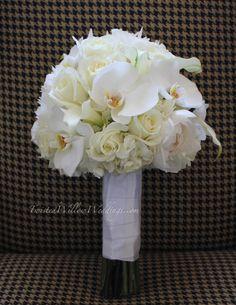 White phalaenopsis and rose - .twistedwillow... #phalaenopsis #rose #bouquet